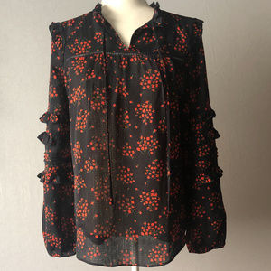Ann Taylor Bouquet Floral Ruffle Sleeve Top Size S